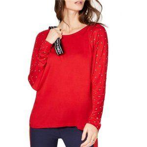 Michael Kors Womens Studded-Sleeve High-Low Top